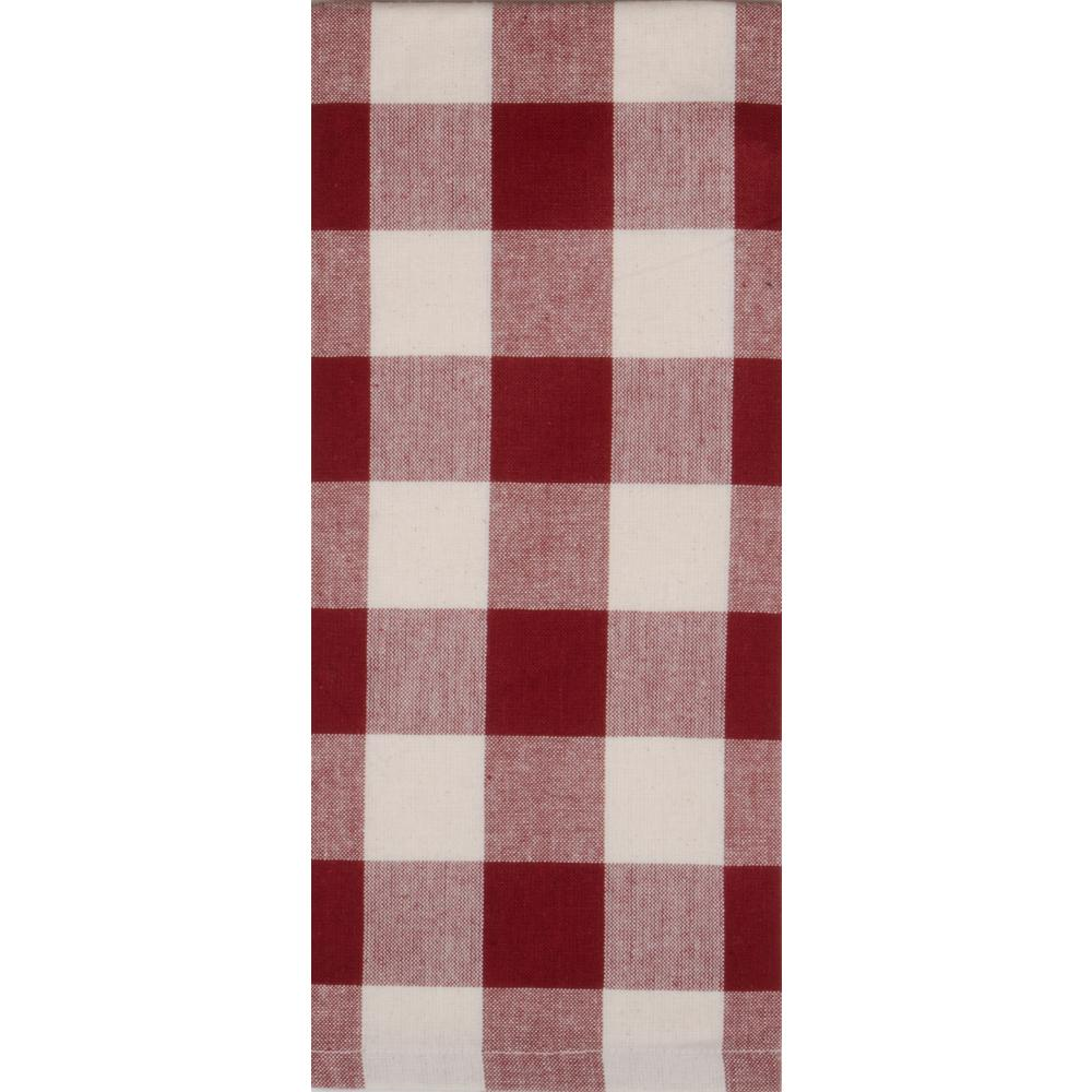 Barn Red-Buttermilk Buffalo Check Towel - Set of Six - Interiors by Elizabeth