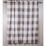 "Buffalo Check Panels Cream 63"" - Pewter - Lined - Interiors by Elizabeth"