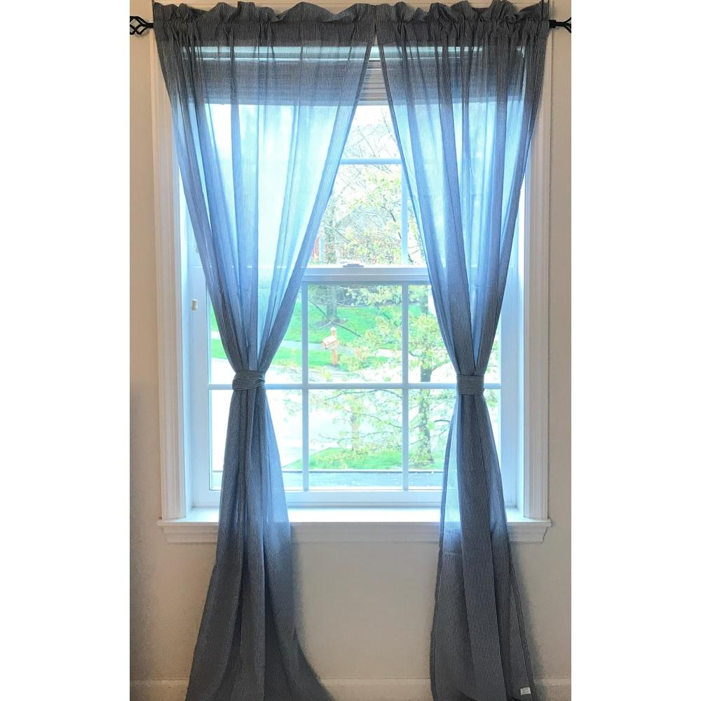 "Voile 84"" x 86"" (2 pcs) (pair of fabric tiebacks included) Light Blue Pinstripe Lined - Interiors by Elizabeth"