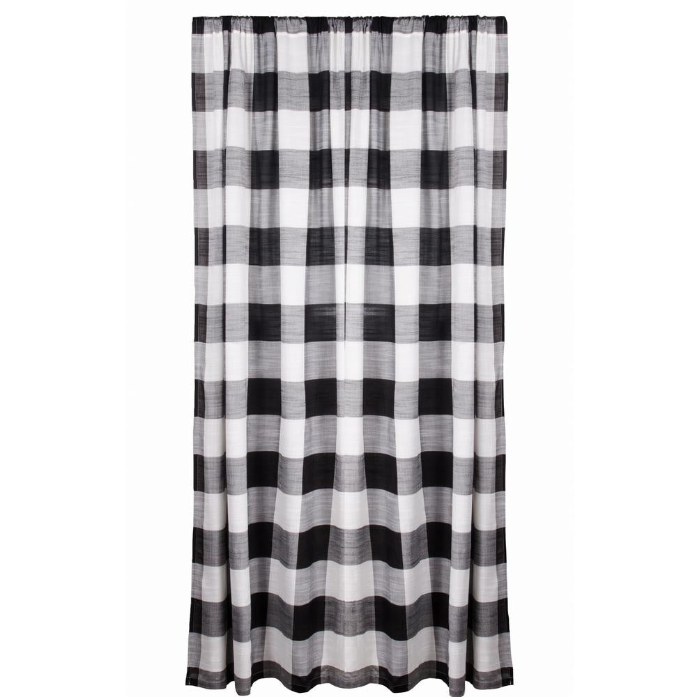 "Buffalo Check 84"" x 86"" (2 pcs) (pair of fabric tiebacks included) Black - White - Interiors by Elizabeth"