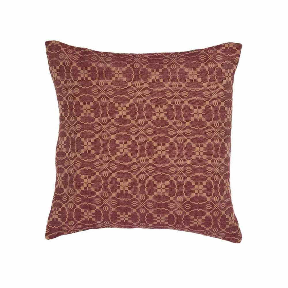 Barn Red-Tan Marshfield Jacquard Pillow Cover - Interiors by Elizabeth