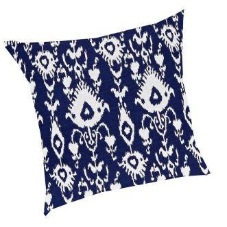 Ikat Pillow Cobalt-White - Interiors by Elizabeth