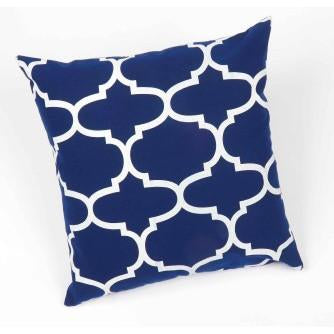 Moroccan Pillow Cobalt-White - Interiors by Elizabeth