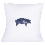 "Farmhouse Pig 18"" x 18"" White - Interiors by Elizabeth"