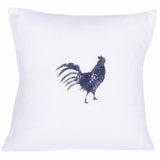 "Farmhouse Rooster 18"" x 18"" White - Interiors by Elizabeth"