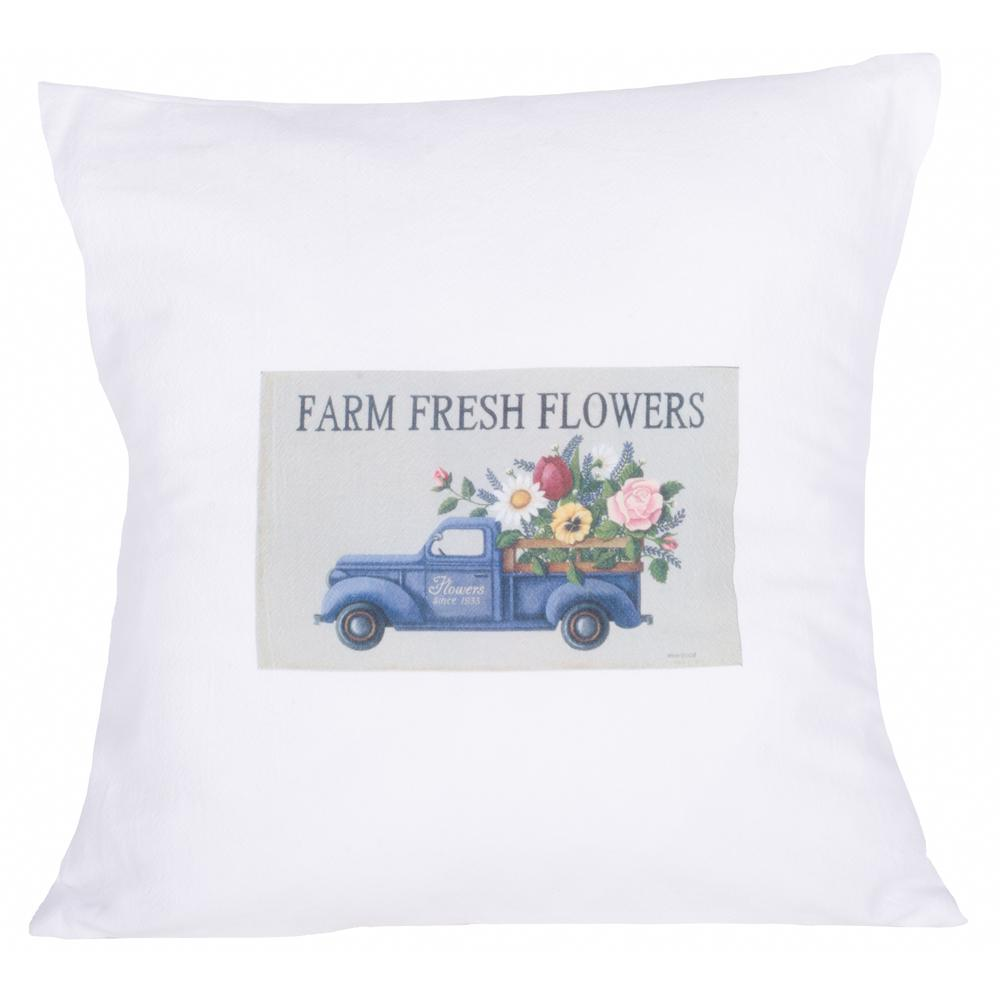 "Farm Fresh Flowers 18"" x 18"" White - Interiors by Elizabeth"