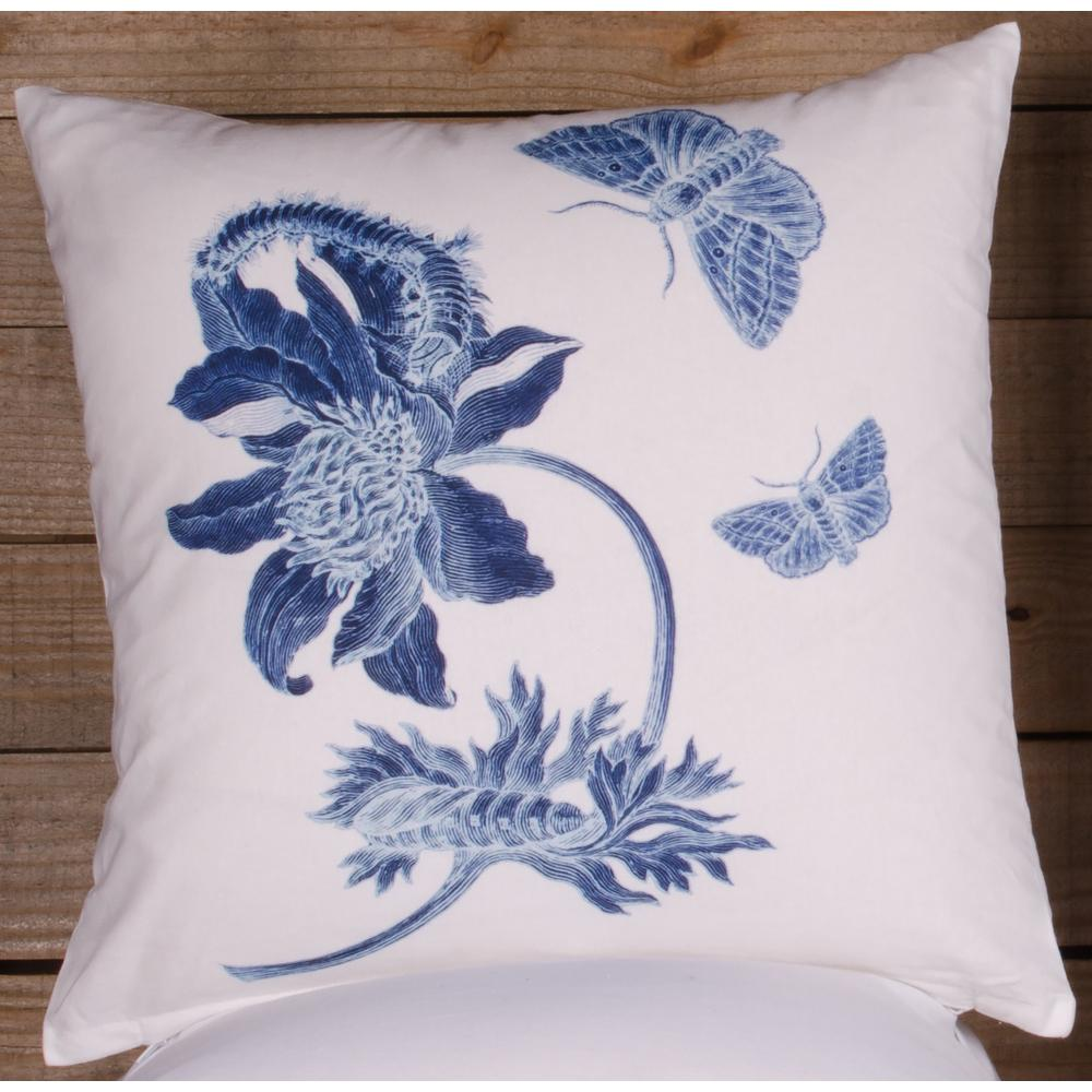 Indigo Flower Pillow Cover - Interiors by Elizabeth