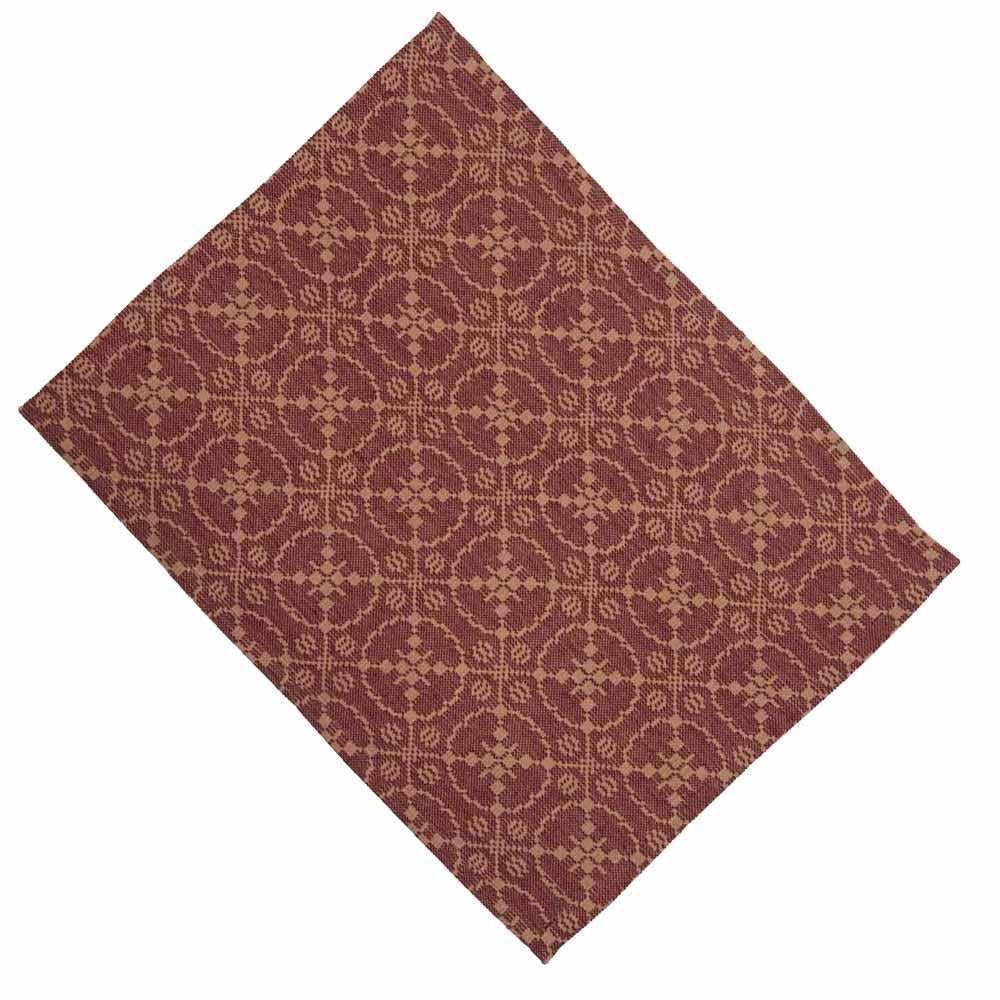Barn Red-Tan Marshfield Jacquard Placemat - Set of Six - Interiors by Elizabeth