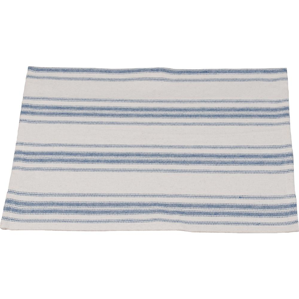 Colonial Blue-Cream Grain Sack Stripe Placemat - Set of Six - Interiors by Elizabeth