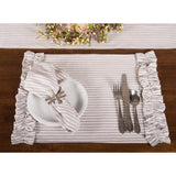 Grey Ticking Ruffle Placemat-  Interiors by Elizabeth