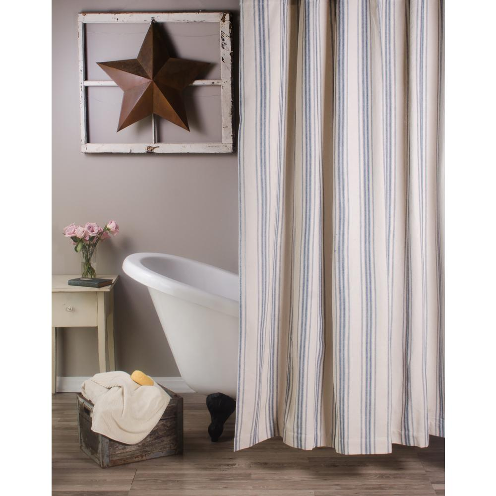 Cream-Colonial Blue Grain Sack Stripe Shower Curtain - Interiors by Elizabeth