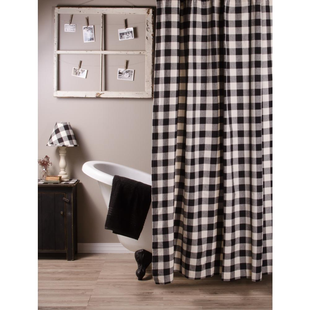 Black-Buttermilk Buffalo Check Shower Curtain - Interiors by Elizabeth