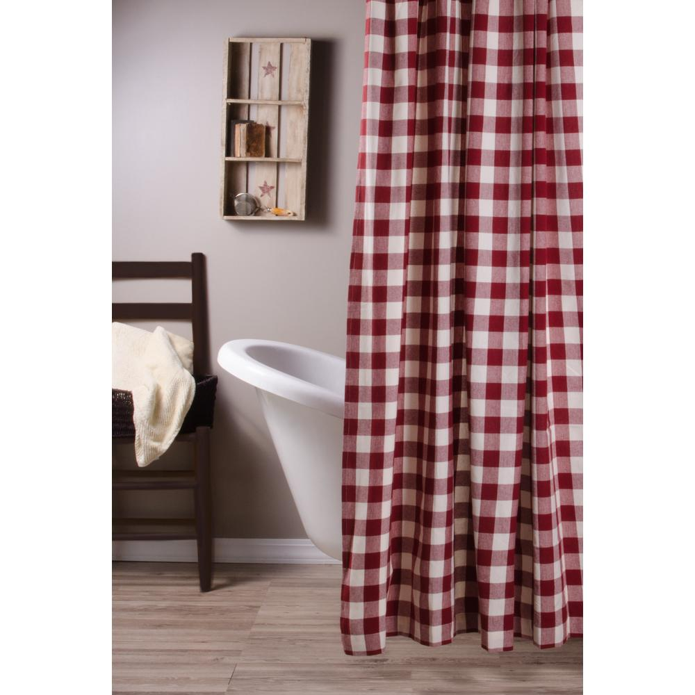 Barn Red-Buttermilk Buffalo Check Shower Curtain - Interiors by Elizabeth