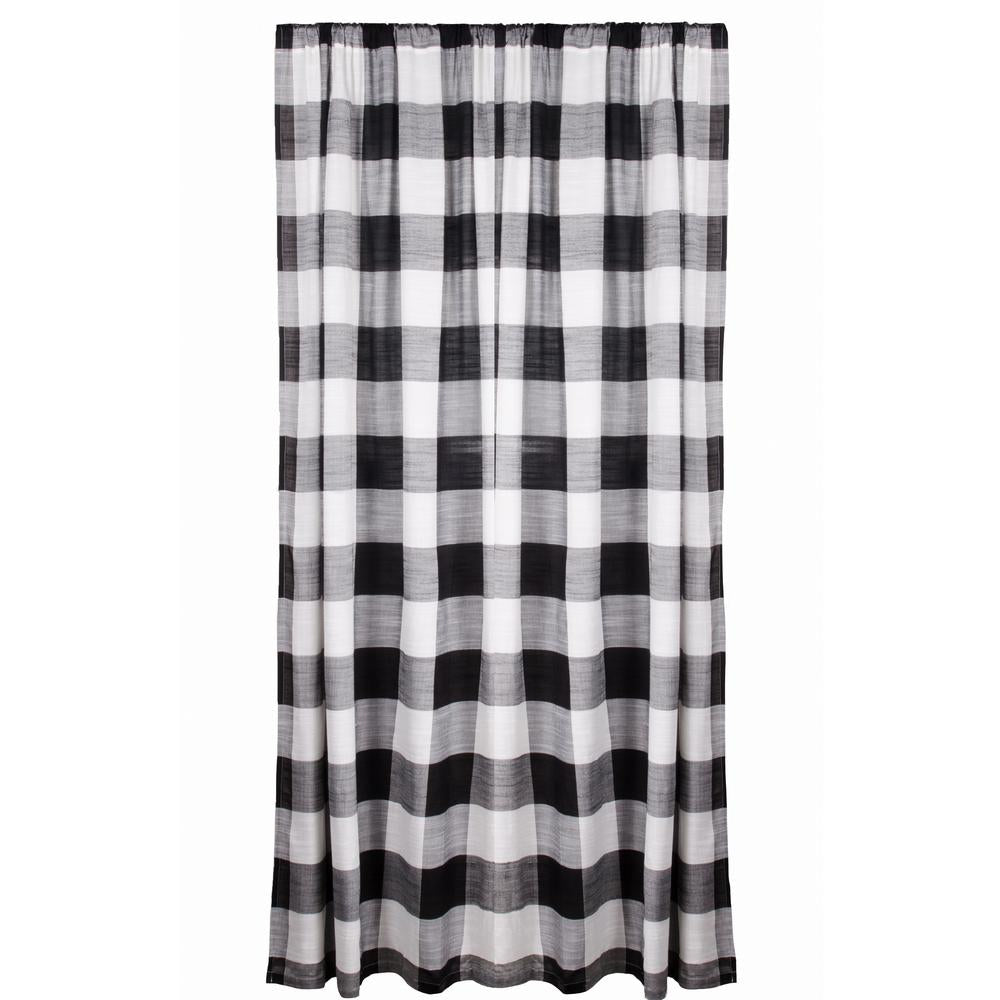 "Buffalo Check 72"" x 72"" (Buttonhole) (Unlined) Black - White - Interiors by Elizabeth"