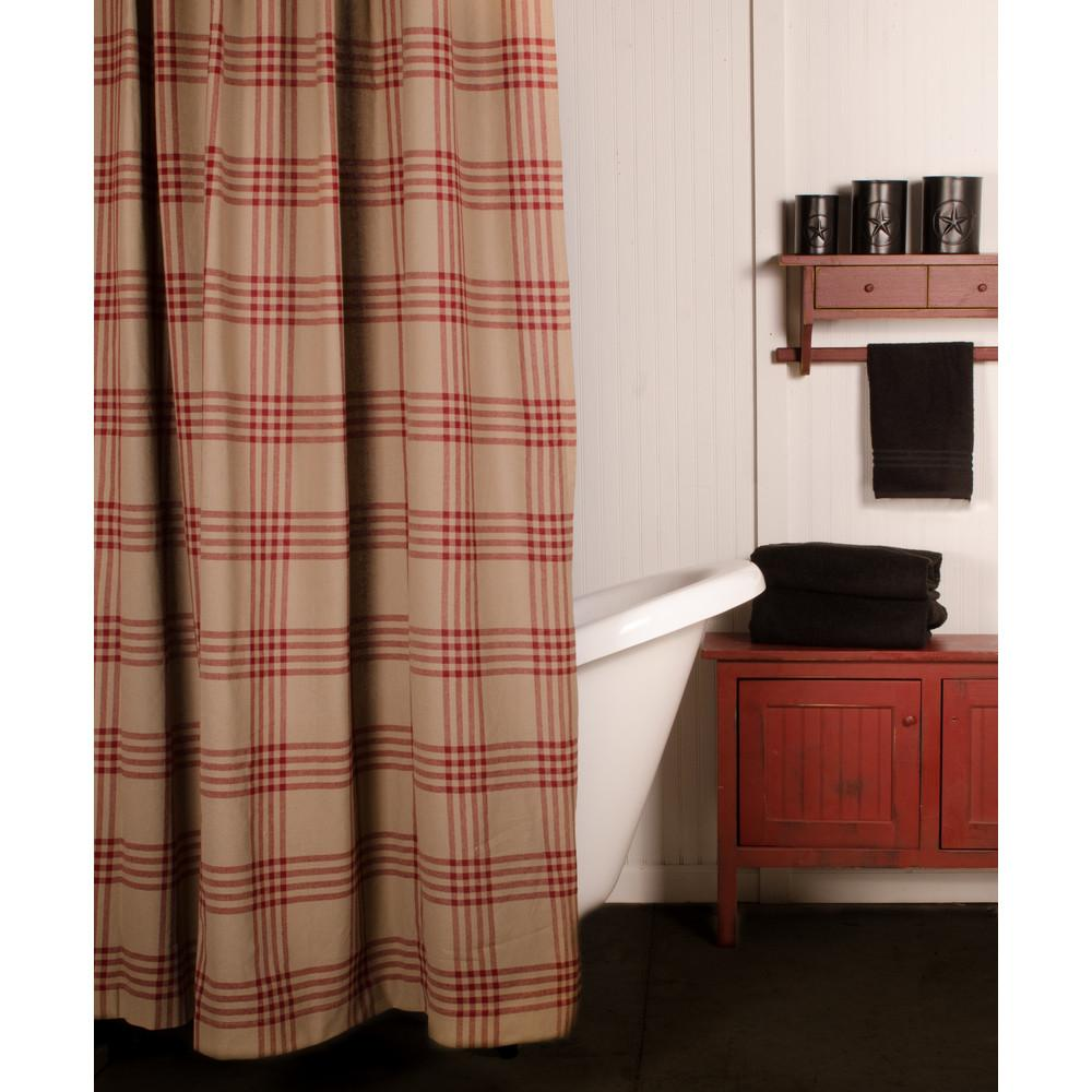 Oat-Barn Red Chesterfield Check Barn Red Shower Curtain - Interiors by Elizabeth