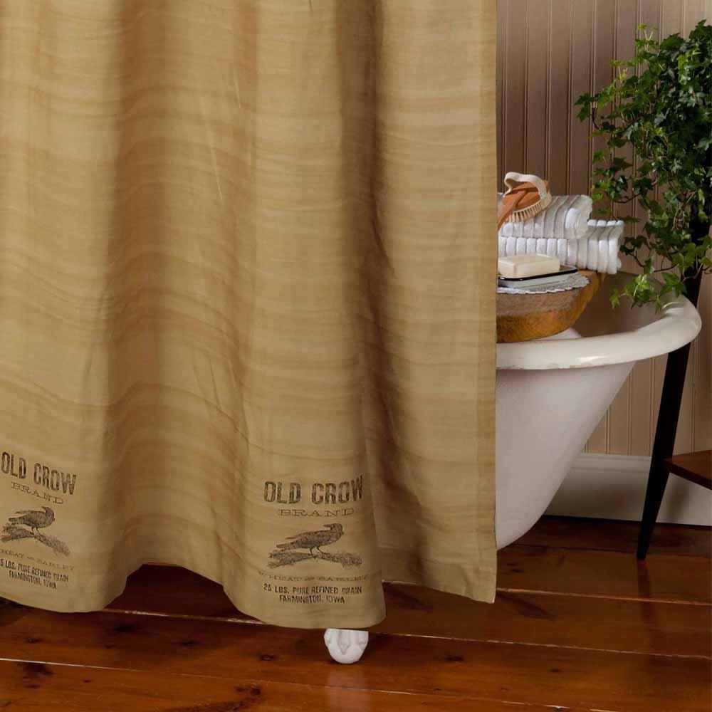 Tea Dyed Old Crow Shower Curtain - Interiors by Elizabeth