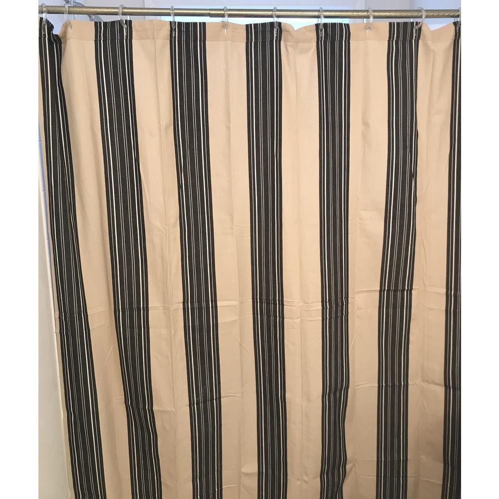 "Farmhouse Stripe 72"" x 72"" (Buttonhole) (Unlined) Natural-Black - Interiors by Elizabeth"