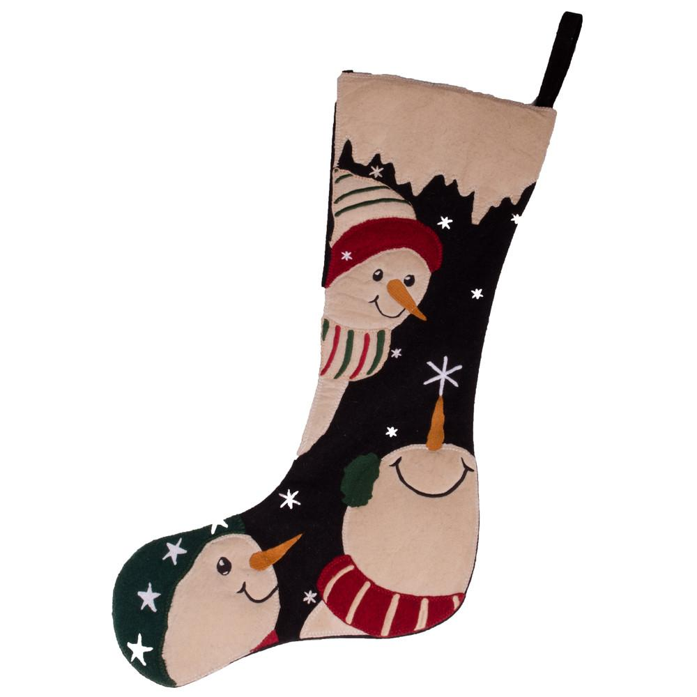 Snowfriends Stocking Black-Barn Red - Interiors by Elizabeth