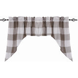 Buffalo Check Swag Cream - Pewter - Lined - Interiors by Elizabeth