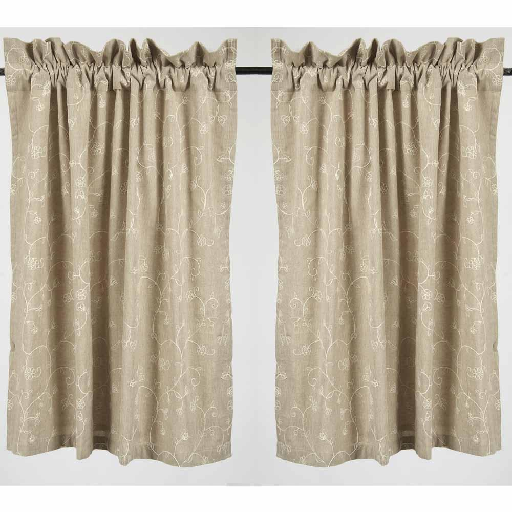 "Taupe Candlewicking Taupe 36"" Tiers - Lined - Interiors by Elizabeth"