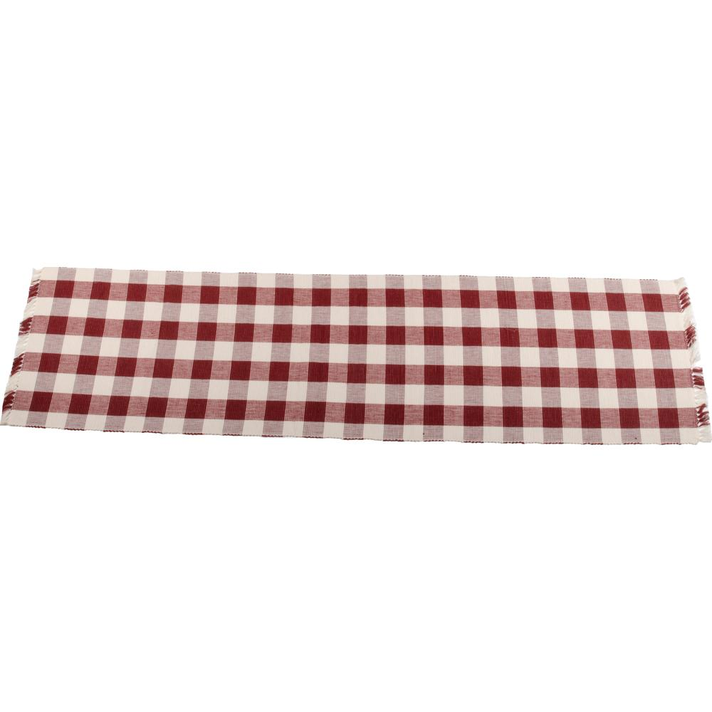 "Buffalo Check 45"" Table Runner Barn Red - Buttermilk - Interiors by Elizabeth"