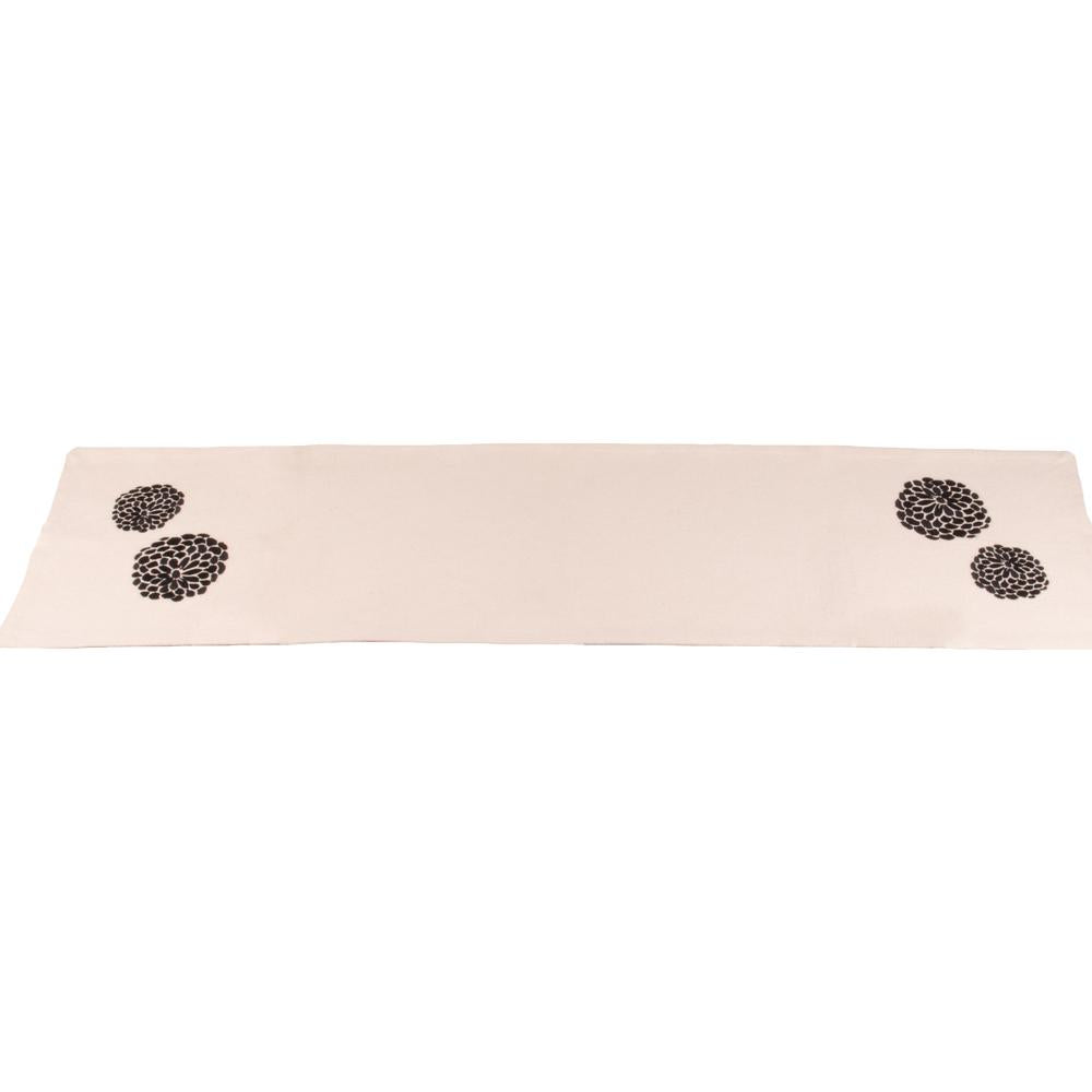 "Zinnia Black - Grain Sack Cream 54"" Table Runner - Interiors by Elizabeth"