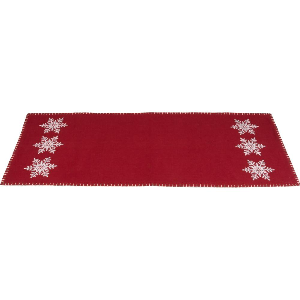 Snowflake Barn Red Table Runner - Interiors by Elizabeth