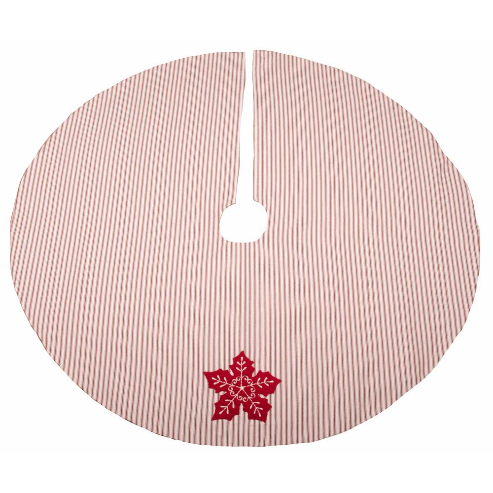 "Poinsettia Star 45"" Diam. Red-White Ticking - Interiors by Elizabeth"