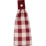 Barn Red-Buttermilk Buffalo Check Tab Towel - Set of Two - Interiors by Elizabeth