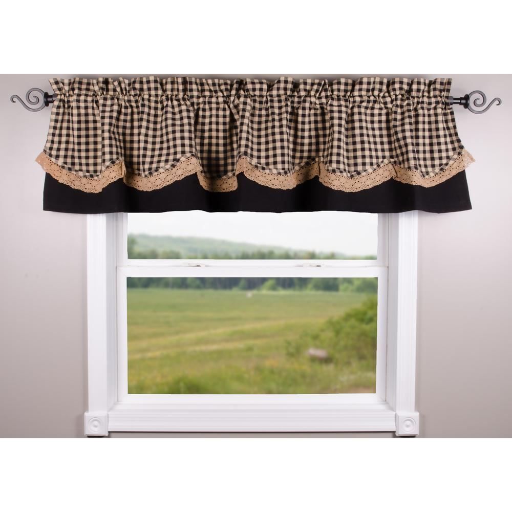 Heritage House Black-Nutmeg Lace Fairfield Valance - Lined - Interiors by Elizabeth