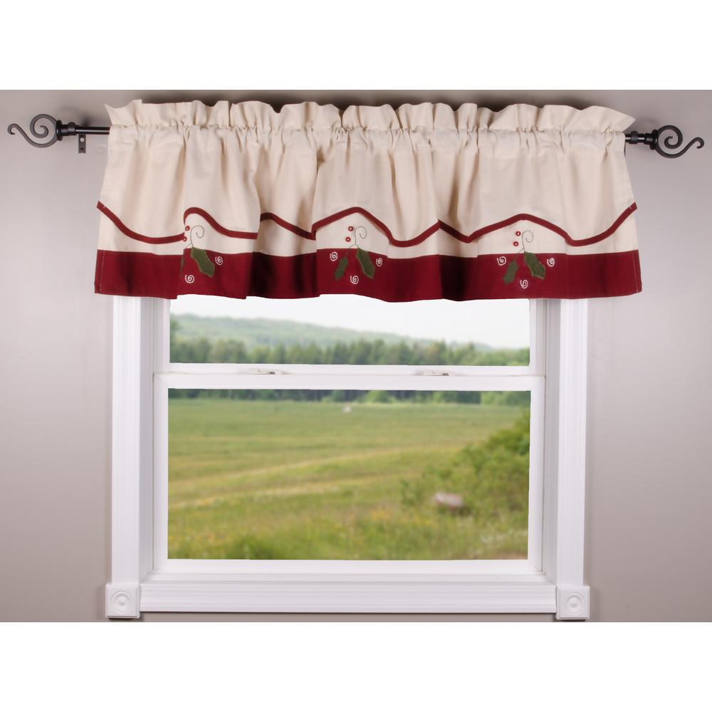 Peppermint Christmas Cream - Barn Red Fairfield Valance - Lined - Interiors by Elizabeth