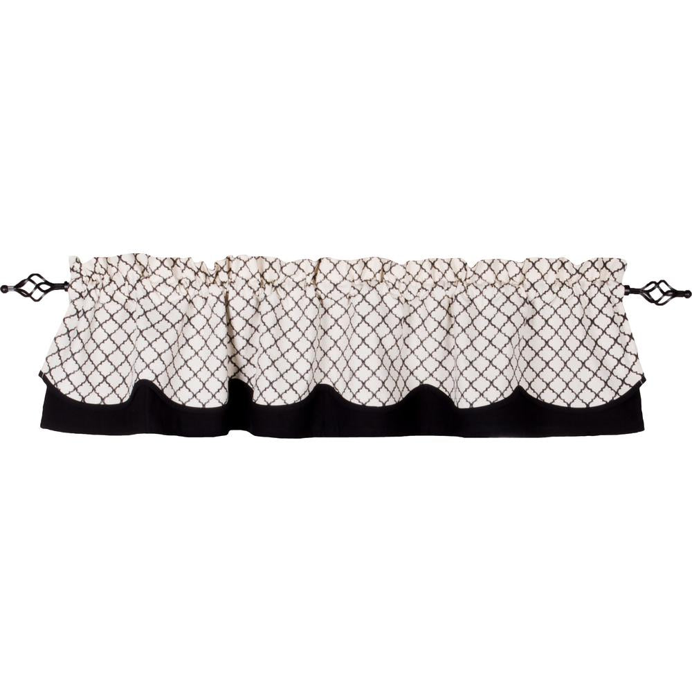 Timeless Quatrefoil Fairfield Valance Cream - Black - Lined - Interiors by Elizabeth