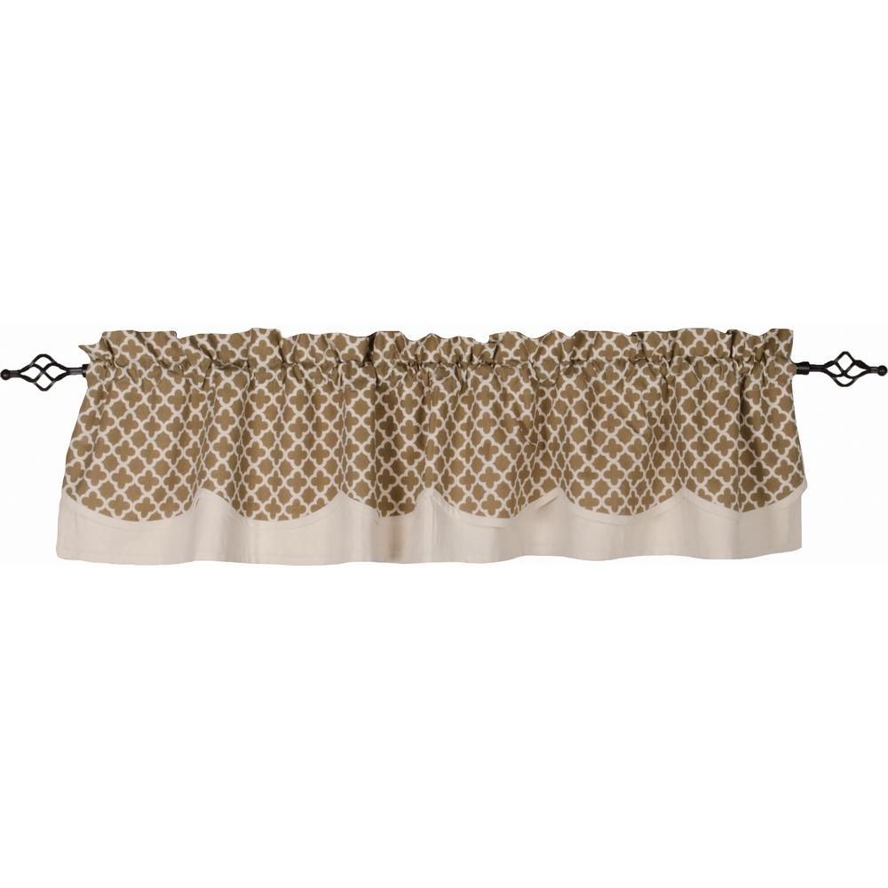 Moroccan Quatrefoil Fairfield Valance Oat - Cream - Lined - Interiors by Elizabeth