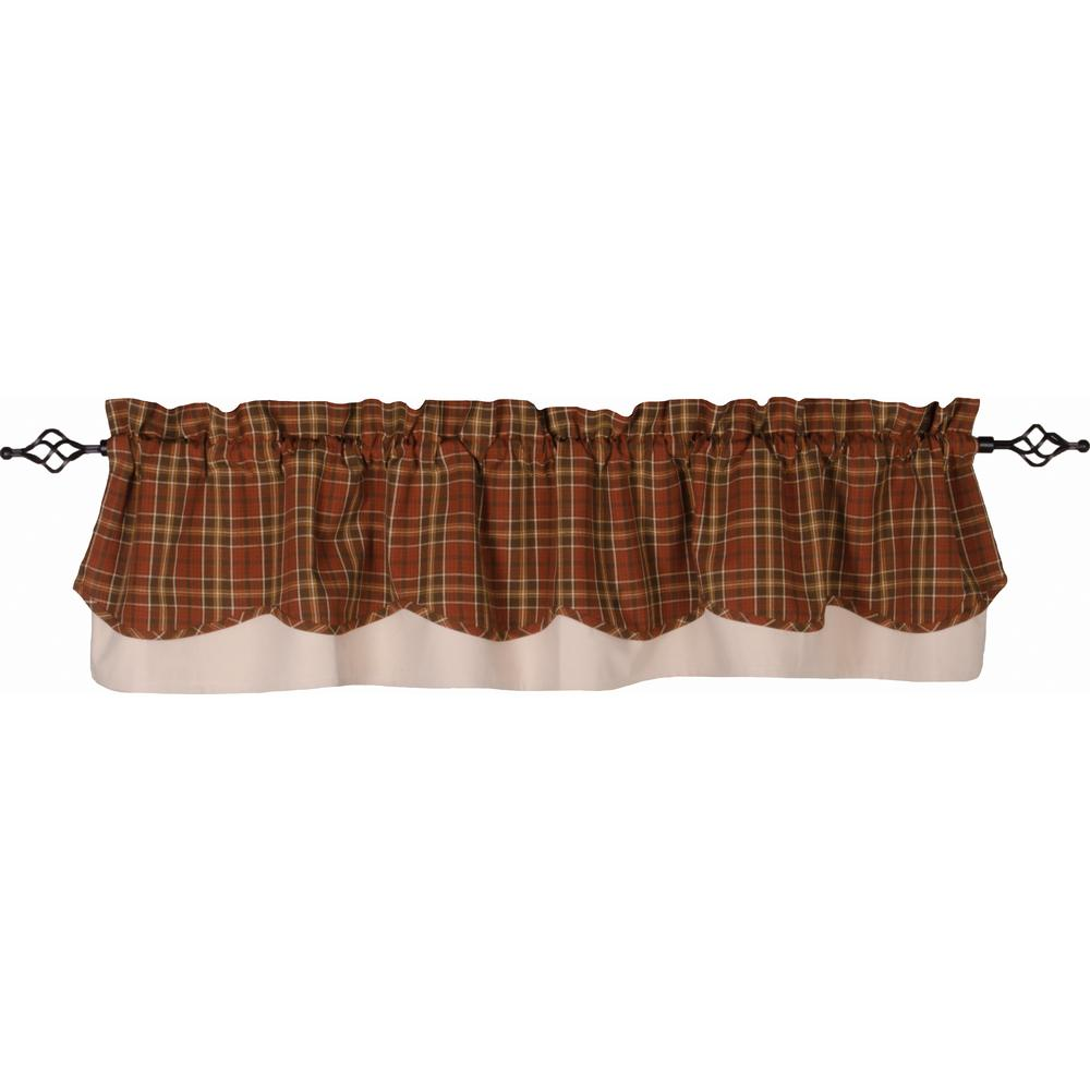 Iverness Plaid Fairfield Valance Orange - Brown - Lined - Interiors by Elizabeth