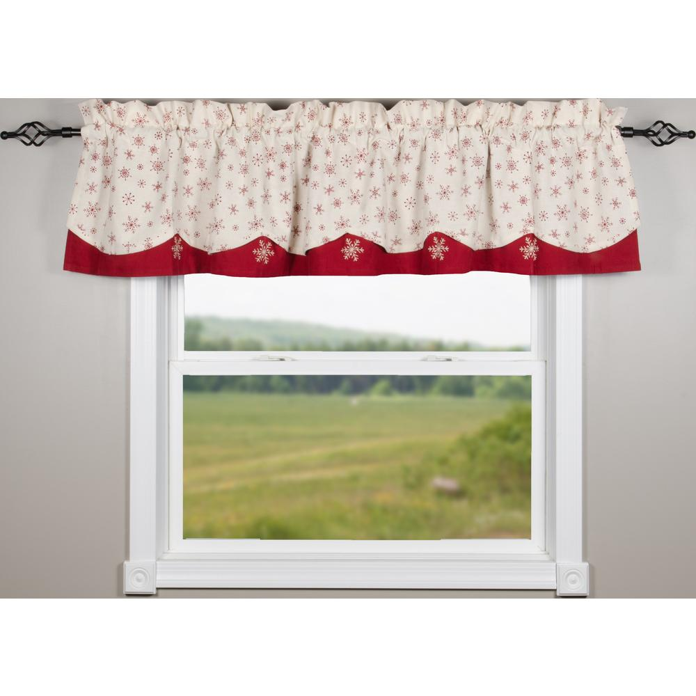 Snowflakes White-Red Fairfield Valance - Lined - Interiors by Elizabeth