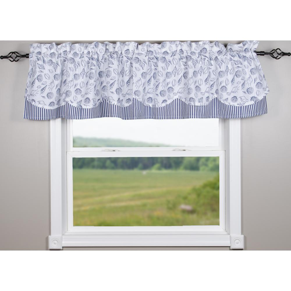 Shells White-Navy Fairfield Valance - Lined - Interiors by Elizabeth