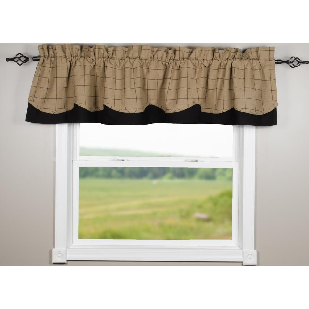 Oat-Black Alexander Check Fairfield Valance - Lined - Interiors by Elizabeth