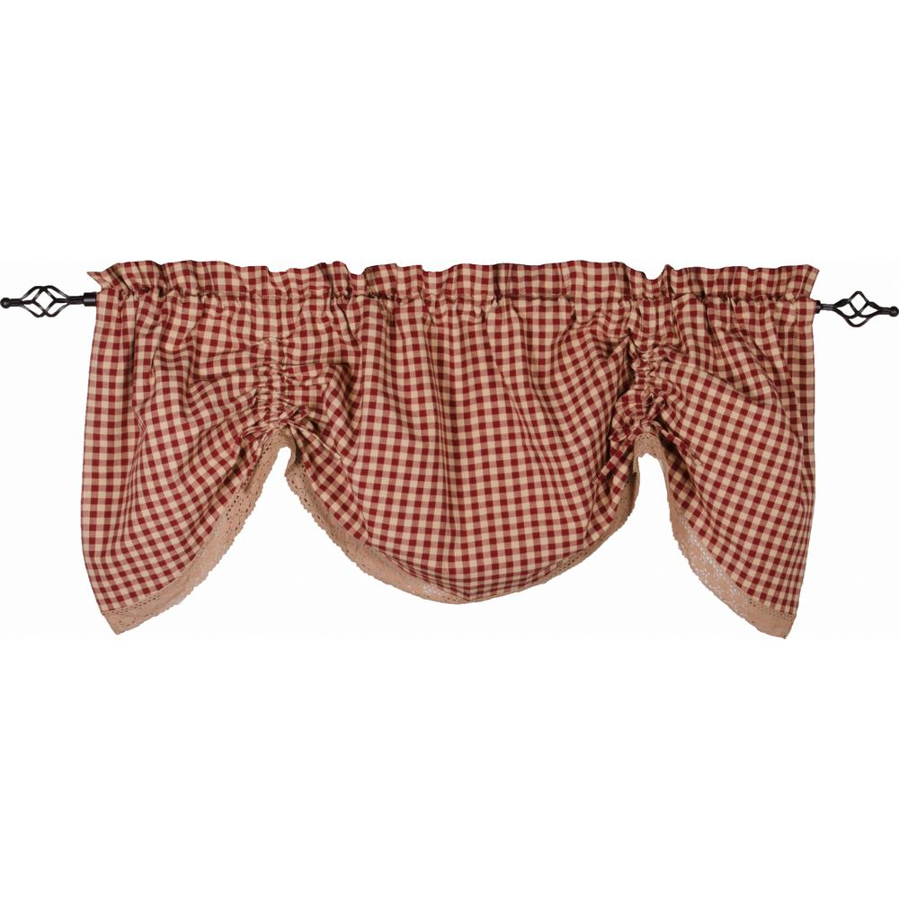 Heritage House Lace Gathered Valance Barn Red - Nutmeg - Lined - Interiors by Elizabeth