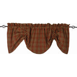 Iverness Plaid Gathered Valance Orange - Brown - Lined - Interiors by Elizabeth
