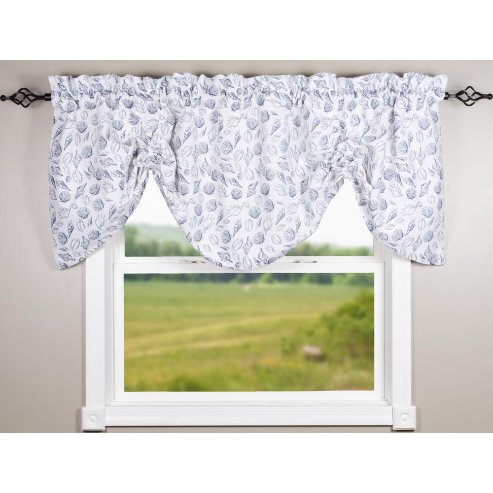 Shells White-Navy Gathered Valance - Lined - Interiors by Elizabeth