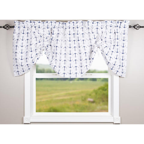 Anchors Away White-Navy Gathered Valance - Lined - Interiors by Elizabeth