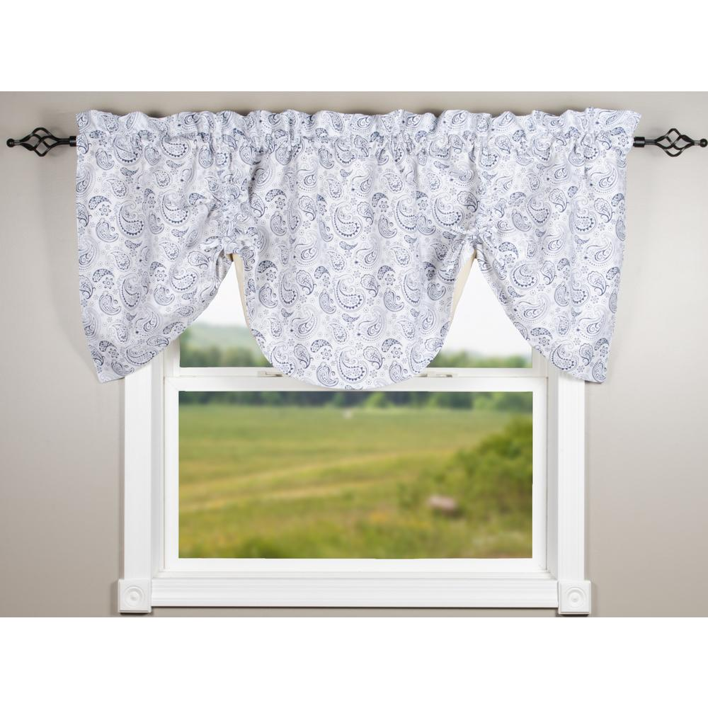 Paisley White-Navy Gathered Valance - Lined - Interiors by Elizabeth