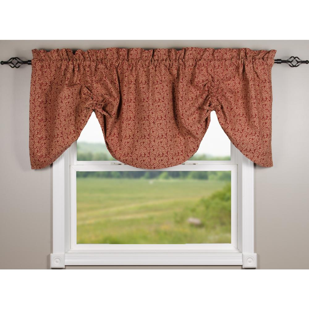 Barn Red-Nutmeg Red Vine Print with Ticking Gathered Valance - Lined - Interiors by Elizabeth