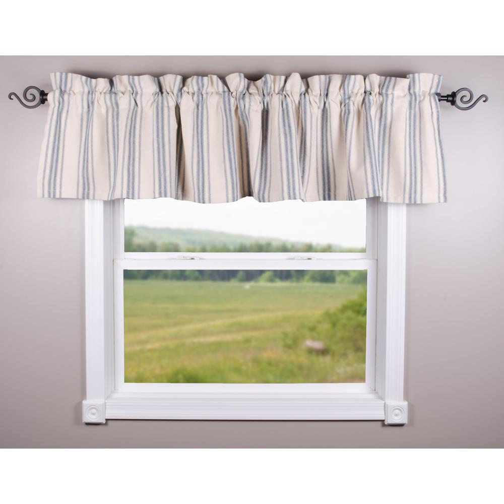 Colonial Blue-Cream Grain Sack Stripe Valance - Lined - Interiors by Elizabeth