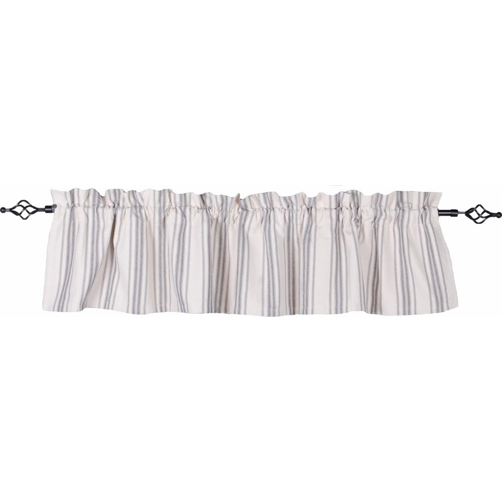 Grain Sack Stripe Cream - Pewter Valance - Lined - Interiors by Elizabeth