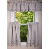 Grey Ticking Ruffle Valance-  Interiors by Elizabeth
