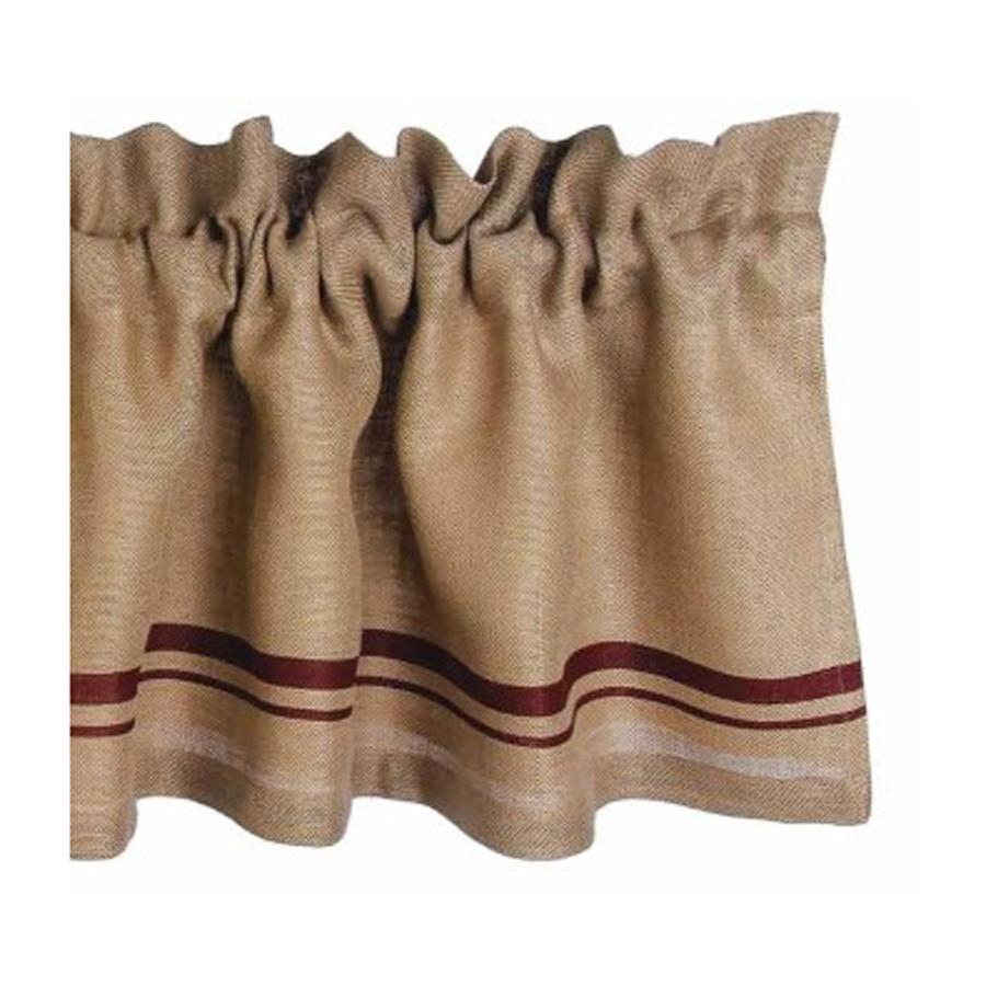 Barn Red - Wheat Burlap Stripe Valance - Lined - Interiors by Elizabeth
