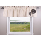 Zinnia Black - Grain Sack Cream Valance - Lined - Interiors by Elizabeth