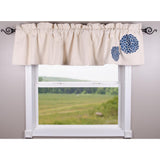 Zinnia Colonial Blue - Grain Sack Cream Valance - Lined - Interiors by Elizabeth