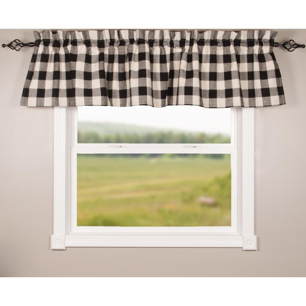 Black-Buttermilk Buffalo Check Valance - Lined - Interiors by Elizabeth